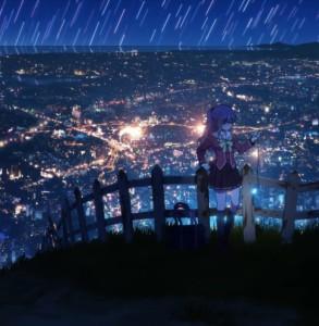 Нао Томори(Nao Tomori) из аниме Шарлотта на фоне ночного города