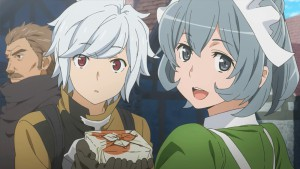 Белл с официанткой Кит из аниме Danmachi