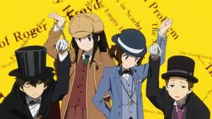 Главные персонажи аниме Hyouka в образах детективов и злодеев в эндинге