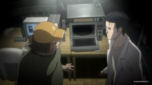 Окабэ и Нару у машины времени