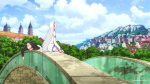 Субару и Эмилия на мосту