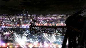 Хомура Акеми (Homura Akemi) на фоне города