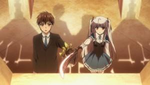 Главные герои аниме Absolute Duo - Коконоэ Тору и Юрия, дающие клятву верности друг другу