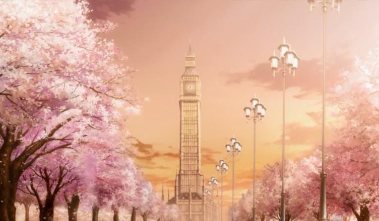 Академия Корью из аниме Идеальная пара(Absolute Duo), с цветущей сакурой