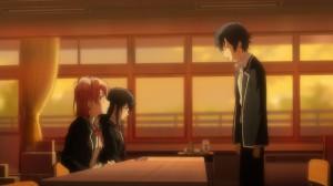 Главные герои аниме Oregairu в клубной комнате