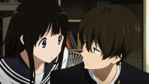 Horaru и Chitanda думают над чем-то главные герои аниме Hyouka