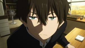 Hotaru Oreki (Хотару Ореки) - главный герой аниме Hyouka смотрит на вас