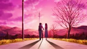 Ореки и Читанда в аниме Hyouka на розовом фоне