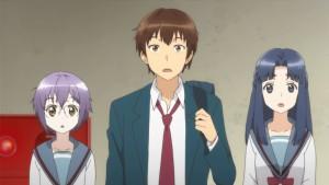 Удивленные Юки Нагато, Кён и Рёко Асакура