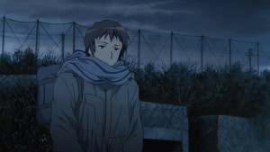 Кён с любимым шарфом на улице