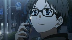Арима Косэй говорит по телефону