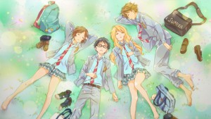 Главные герои аниме Твоя апрельская ложь