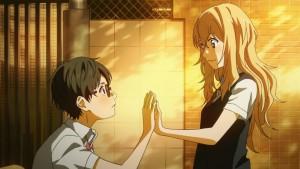 Милота-доброта. Каори и Косэй держатся за руки
