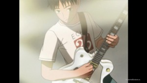Юкио на белой гитаре