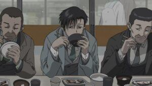 Рокуро на работе обедает